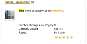 Phoca Gallery Parameters - Display Categories Style - Description
