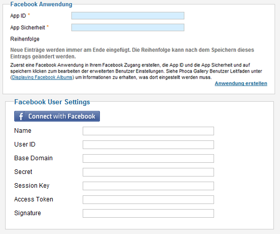 Phoca Gallery - Facebook Settings