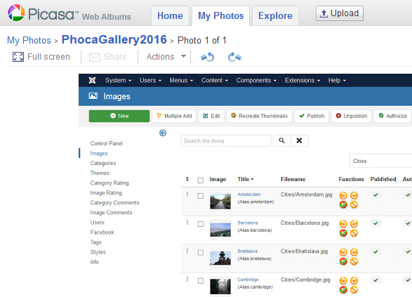 Displaying Google Photos albums in Picasa
